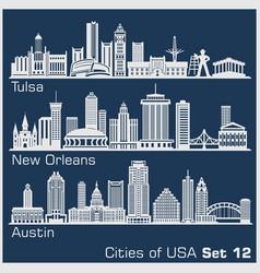 cities usa - tulsa new orleans austin vector image