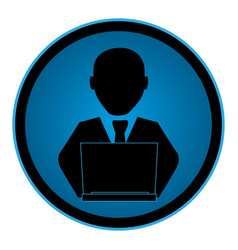 Color circular emblem with man with laptop vector