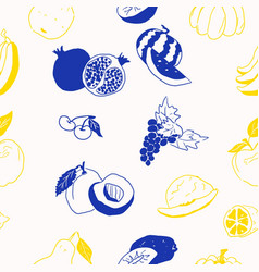 contrasting yellow and blue fruits doodles on vector image