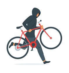 Criminal stealing bicycle vector