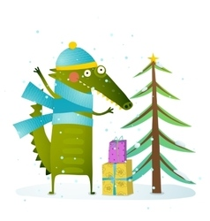 Crocodile wearing winter warm clothes celebrating vector image