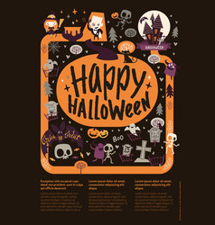 cute festive happy halloween announcement banner vector image