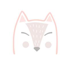 cute fox head in scandinavian cartoon style kids vector image