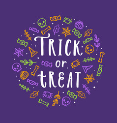Cute halloween lettering and doodle art vector