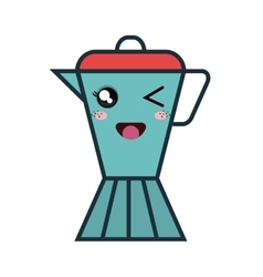 Cute kettle kawaii style vector