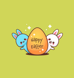 cute rabbits with egg happy easter bunnies sticker vector image