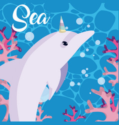 Cute sea cartoons vector