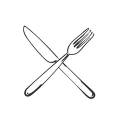 Cutlery fork and knife crossed linear sketch vector