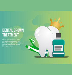Dental crown treatment concept design template vector