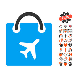 duty free shopping icon with love bonus vector image