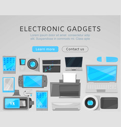 electronic gadgets sale web template with vector image
