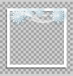 Empty photo frame with winter snow template for vector