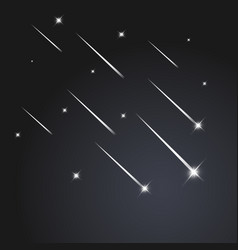 falling stars on black background vector image