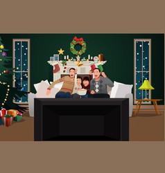 family watching tv during christmas season vector image
