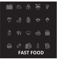 fast food editable line icons set on black vector image
