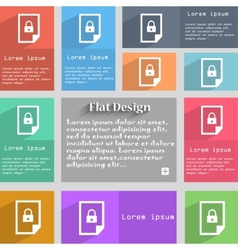 file locked icon sign Set of coloured buttons vector image