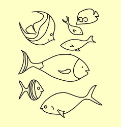 fish line icons set line icons vector image