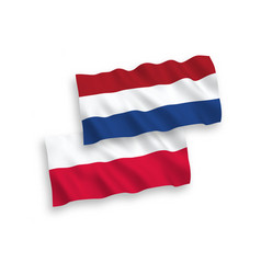 Flags netherlands and poland on a white vector