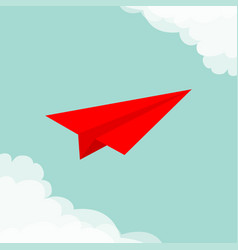 Flying origami red paper plane cloud in corners vector