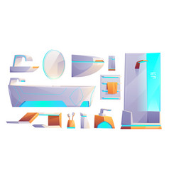 futuristic bathroom furniture stuff set isolated vector image