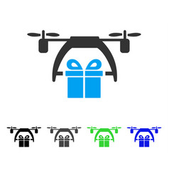 gift drone delivery flat icon vector image