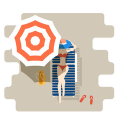 girl on a chaise-longue under sun umbrella vector image