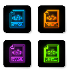 glowing neon html file document icon download vector image