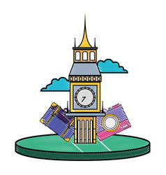 Grated big ben of london with backpack and camera vector