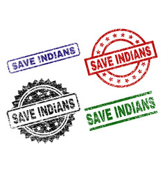 grunge textured save indians stamp seals vector image