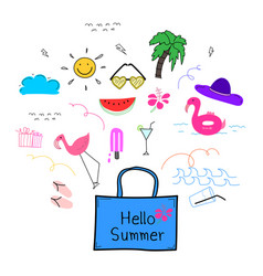 hand drawn doodle summer set vector image