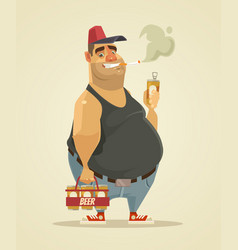 Happy smiling man smoking cigarette and drinking vector