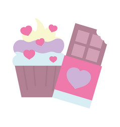happy valentines day sweet cupcake chocolate bar vector image