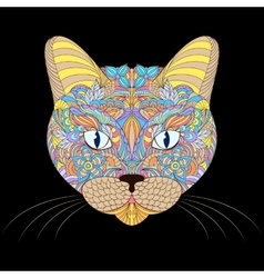 Head of cat on black background vector