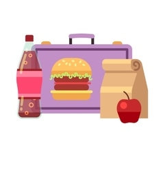 Healthy school lunch student breakfast box vector image