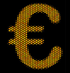 hexagon halftone euro symbol icon vector image