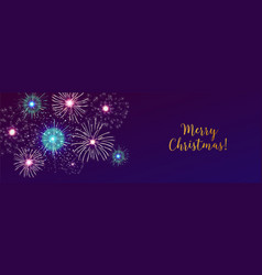 Horizontal web banner with fireworks displaying in vector