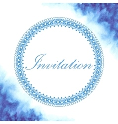 Invitation card with watercolor background vector image
