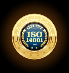 ISO 14001 certified medal - quality standard vector image