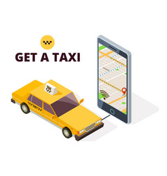 isometric mobile taxi and gps city map navigation vector image
