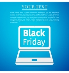 Laptop with Black Friday Sale on screen flat icon vector