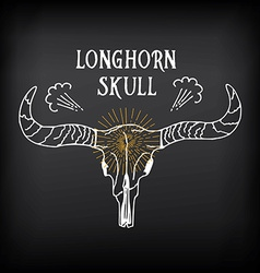 Longhorn skull sketch design Vintage western icon vector