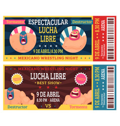 lucha libre ticket mexican wrestlers in masks vector image