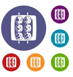 Meat shashlik icons set vector