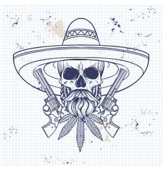 mexican sketch skull vector image