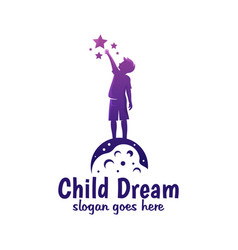 Modern color child dream reach star reaching vector