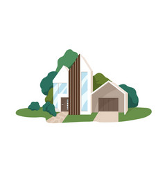 Modern house building exterior minimalistic vector