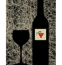 Modern wine glass and bottle menu background vector image