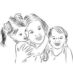 Mom and kids - line art vector image