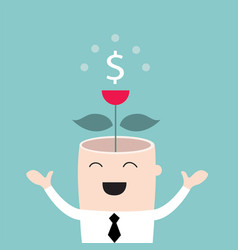 money tree growing from businessman head business vector image