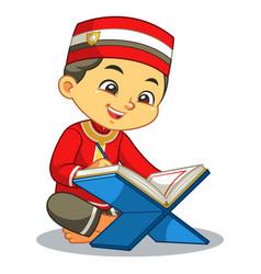 Moslem boy reading quran vector